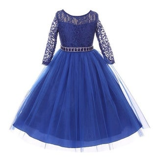 Girls Royal Blue Floral Lace Rhinestone Waist Tulle Christmas Dress
