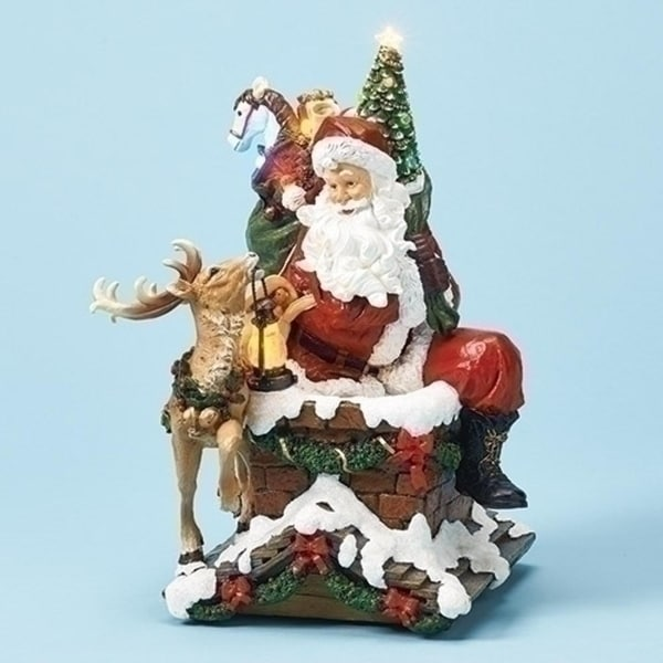 Pack of 2 Santa Sitting with Deer on Chimney Enlightens with Yellow and White Light 12""