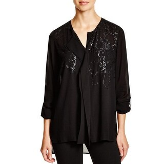 Pure DKNY Womens Button-Down Top Sequined Ruffled