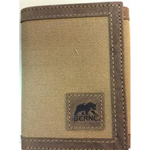 Berne Wallet Mens Leather Canvas Trifold Stitch Logo Brown