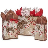 Pack of 125, Woodland Berry Pine Assortment 50 Rose, 50 Cub & 25 Vogue Bags 100% Recyclable, Made In Usa