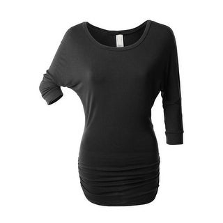 NioBe Clothing Womens 3/4 Sleeve Dolman Top with Side Shirring Tunic