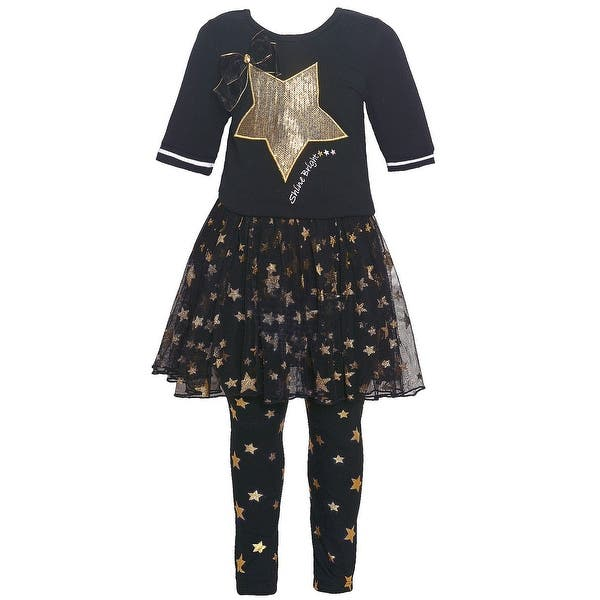 6ca92e46c3dc54 Shop Bonnie Jean Little Girls Black Gold Sequin Star Applique 2 Pc Legging  Set - Free Shipping On Orders Over $45 - Overstock - 25542235