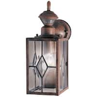 """Heath Zenith HZ-4151-1 1-Light 8-9/32"""" High Outdoor Wall Sconce - Motion Sensor Activated - Rustic Brown - N/A"""