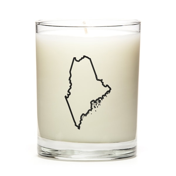 Custom Candles with the Map Outline Maine, Eucalyptus