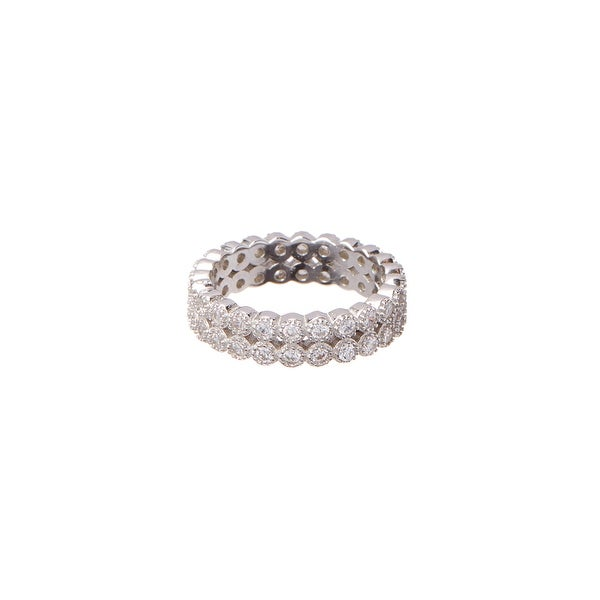 Cubic Zirconia Double-Row Eternity Band Ring
