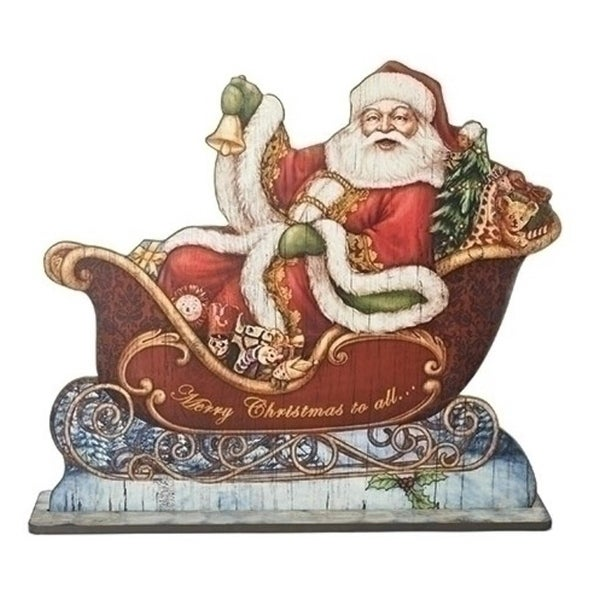 """30"""" Santa in Sleigh with Gifts and Bell Floor Plaque Christmas Figure"""