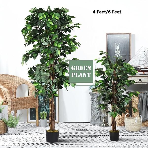 Costway 4 Feet/6 Feet Artificial Ficus Silk Tree Wood Trunks Green In/Outdoor Home Decor