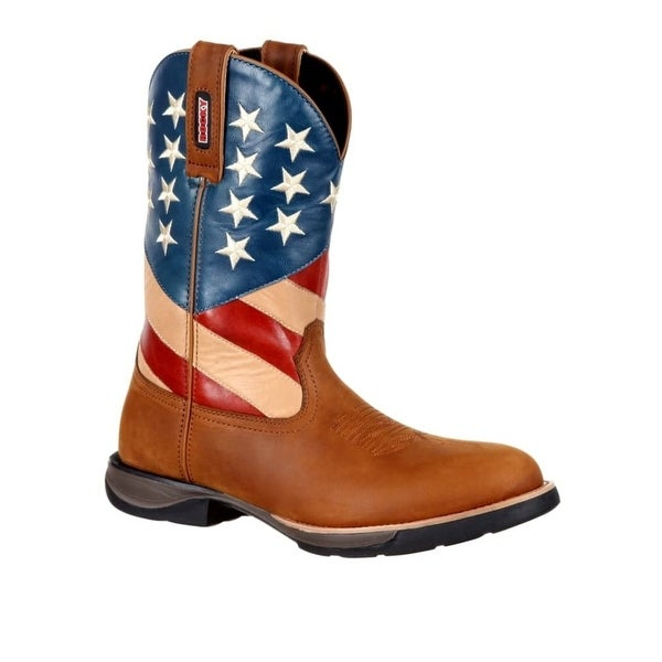 """Rocky Western Boots Mens 11"""" Patriotic Flag Pull On Brown"""