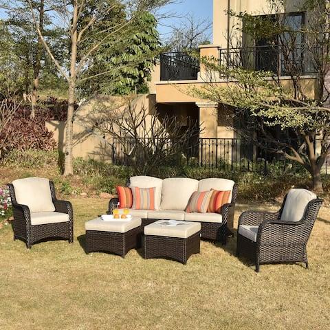 Ovios Patio Furniture Sets 5-piece Rattan Wicker Chair Sectional Sofa Set