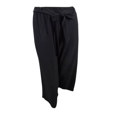 Eileen Fisher Women's Plus Washable Crepe Cropped Wide-Leg Pants (1X, Black) - Black - 1X