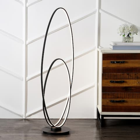 """Calder 47"""" Metal Modern Contemporary Oval Dimmable Integrated LED Floor Lamp, Black by Jonathan Y - 47"""" H x 14.75"""" W x 11.25"""" D"""