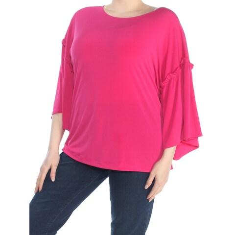 RACHEL ROY Womens Pink Bell Sleeve Jewel Neck Top Plus Size: 1X