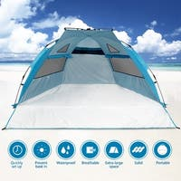 "Odoland Beach Tent Pop Up Sun Shelter UPF 50+ Sun Protection Polyester Tent Extend Size 94""x78"""
