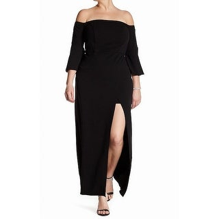 ABS by Allen Schwartz Black Womens 1X Plus Off Shoulder Maxi Dress