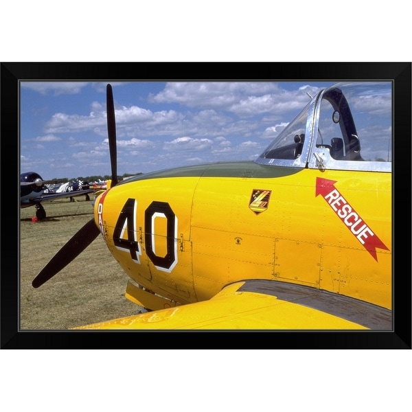 """P-34 Beechcraft at airshow, Oshkosh, Wisconsin"" Black Framed Print"