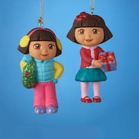 """Pack of 24 Dora the Explorer with Present or Wreath Christmas Ornaments 3.5"""" - multi"""