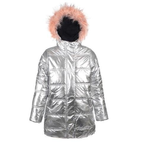 Urban Republic Little Girls Silver Faux Fur Trim Hooded Puffer Jacket