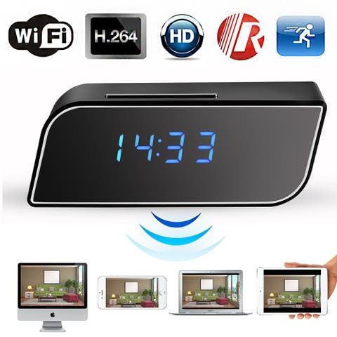 AGPtek Hidden Camera Alarm Clock Motion Security HD 720P Wireless Wifi IP Spy Hidden Camera IR DV Cam - Silver