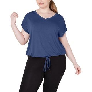 Ideology Women's Plus Size Drawstring-Hem Top Koi Blue Size Extra Large - Navy - X-Large