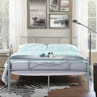 Full Metal Bed Frame Platform Base Mattress Foundation with Two Bowknot Headboards