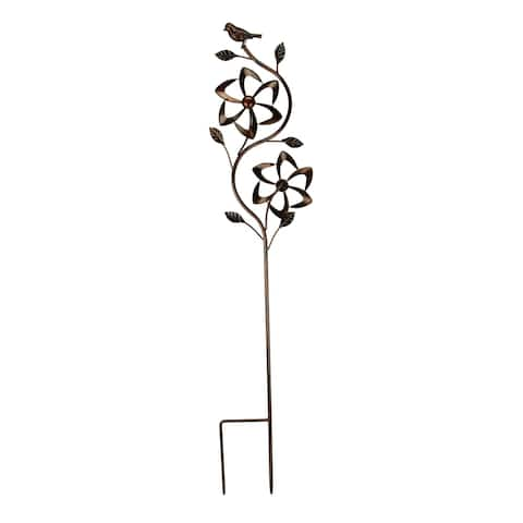 Bronze Finish Metal Art Flower Double Spinner Wind Sculpture Garden Stake, Angles - 48.25 X 9 X 3 inches