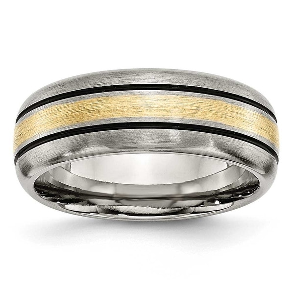 Chisel 14k Gold Inlaid Grooved Brushed and Antiqued Titanium Ring (8.0 mm)