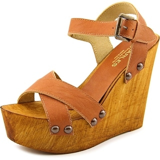 Charles By Charles David Munich Women Open Toe Leather Tan Wedge Sandal