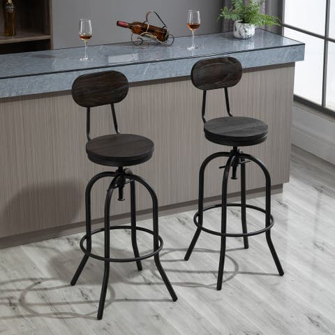 HOMCOM Set of 2 Retro Industrial Elm Wood Mid-Back Barstools with Adjustable Height and Swivel Seat, Dark Brown and Black