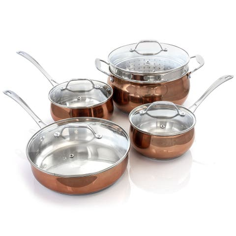 Oster Carabello 9 Piece Stainless Steel Cookware Combo Set in Copper