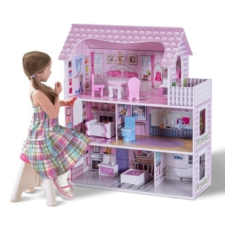 Link to Gymax 28'' Pink Dollhouse w/ Furniture Gliding Elevator Rooms 3 Levels Similar Items in Musical Instruments