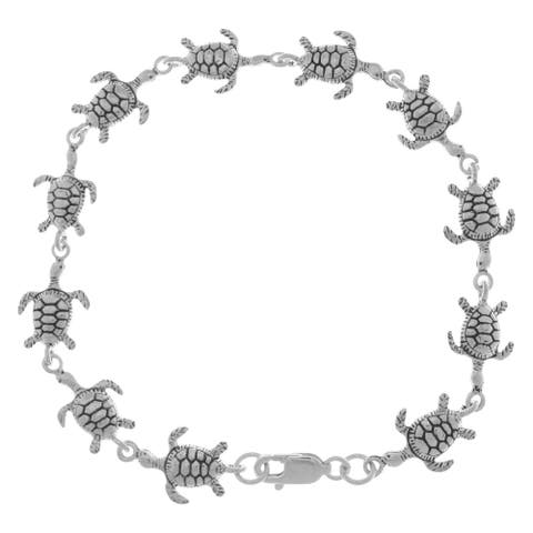 Sterling Silver Swimming Sea Turtles Link Bracelet with Lobster Clasp