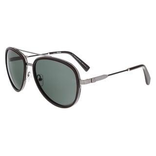 Ermenegildo Zegna EZ0008/S 12N Chocolate Brown and Ruthenium Aviator Sunglasses - chocolate brown and ruthenium - 59-18-140