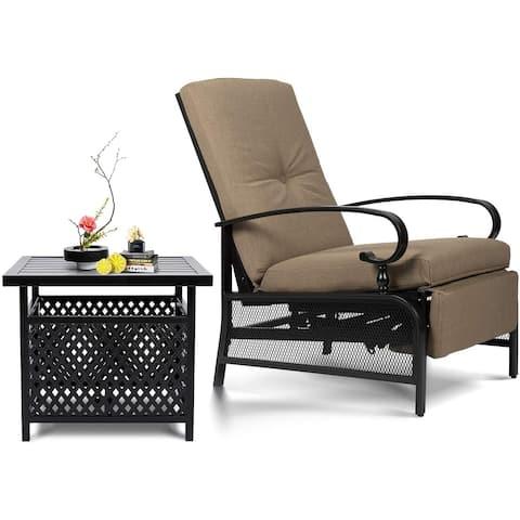 SUNCROWN Patio Recliner Outdoor Adjustable Lounge Chair Set
