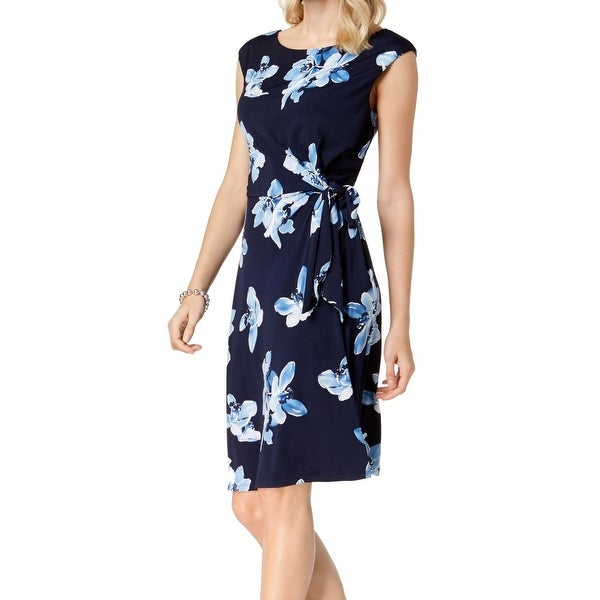 24335e8e Shop Connected Apparel Blue Womens Size 16 Floral Print Sheath Dress ...