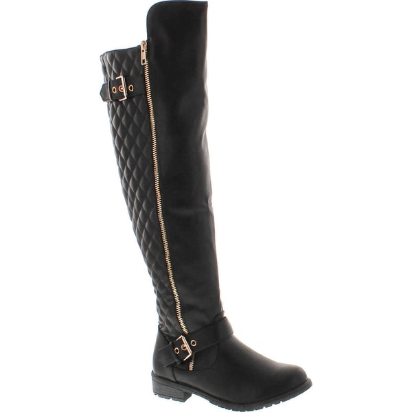 Forever Mango-41 Womens Buckle Strap Quilt Shaft Knee High Boots - Black