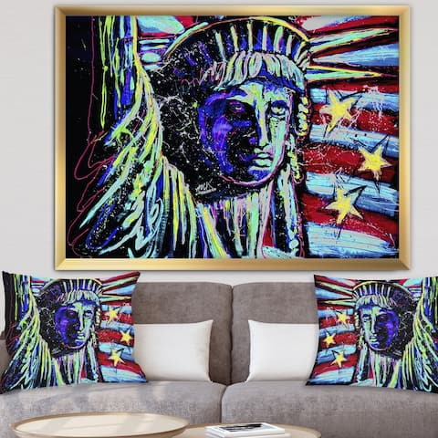 Designart 'Liberty For Prints 001 Touched Neon' Modern & Contemporary Framed Art Print
