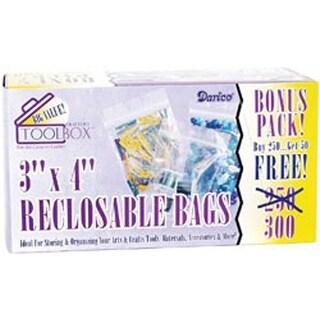 """3""""X4"""" Clear - Reclosable Plastic Bags 300/Pkg"""