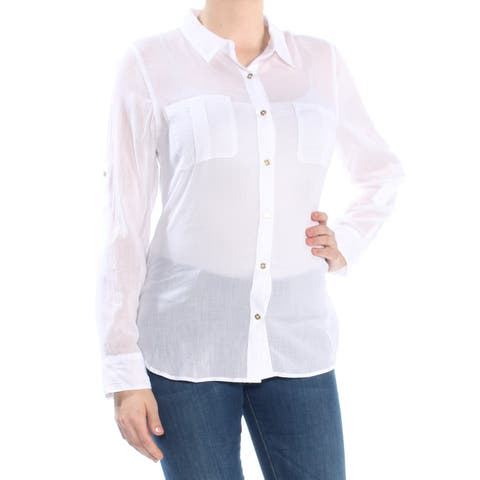 382d1b2ee CALVIN KLEIN Womens White Crinkle Button Front Long Sleeve Collared Blouse  Top Size: M