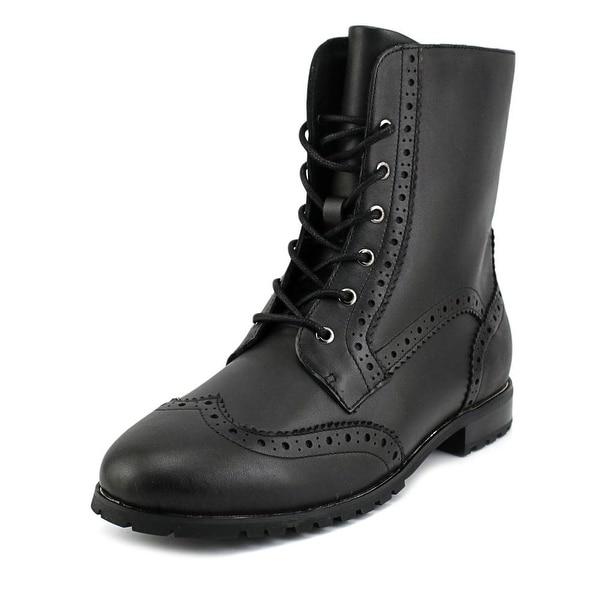 Sudini Felicia Women Round Toe Leather Black Ankle Boot