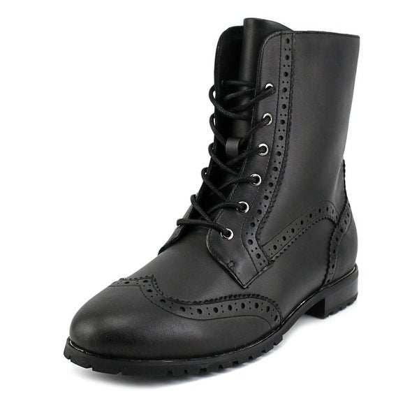 Sudini Felicia Women W Round Toe Leather Black Ankle Boot