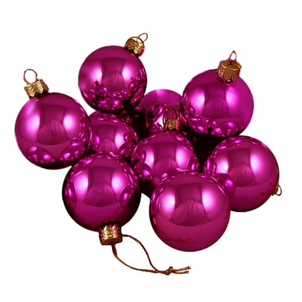 Shop Pack Of 12 Shiny Fuchsia Candy Glass Ball Christmas Ornaments 2 50mm
