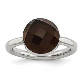 Chisel Stainless Steel Polished Dark Brown Glass Ring