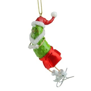 "4"" Green and Red Pickle People Ice Skater Decorative Christmas Ornament"