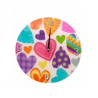 Glass Heart Pattern Wall Clock