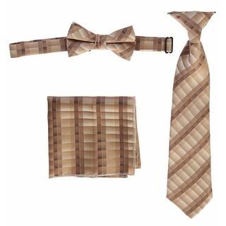 Boys Brown Plaid Striped Tie Bow Tie Pocket Square 3 Pc Accessory Set