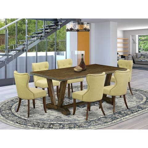 V727SI737-5 5-Pc Dinette Set- 4 Parson Dining Chairs with Limelight Linen Fabric Seat and Button Tufted Chair Back