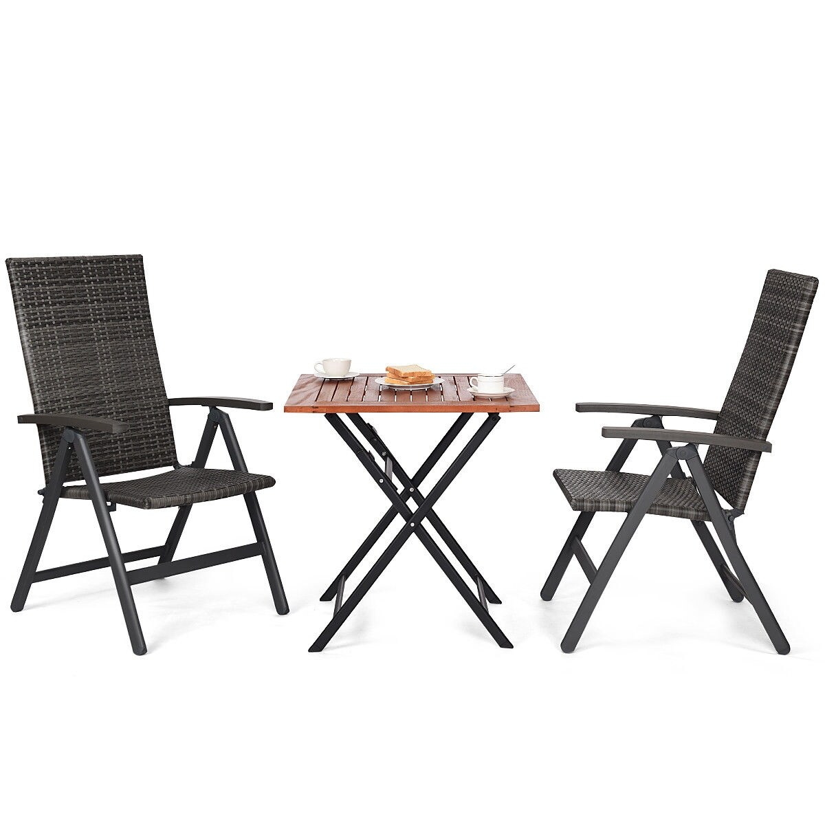 Swell Costway 3Pcs Patio Rattan Folding Reclining Chairs Table Set Indoor Outdoor Furniture Set Of 3 Creativecarmelina Interior Chair Design Creativecarmelinacom