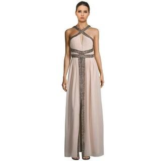 Parker Black Kathy Beaded Keyhole Halter Evening Gown Dress