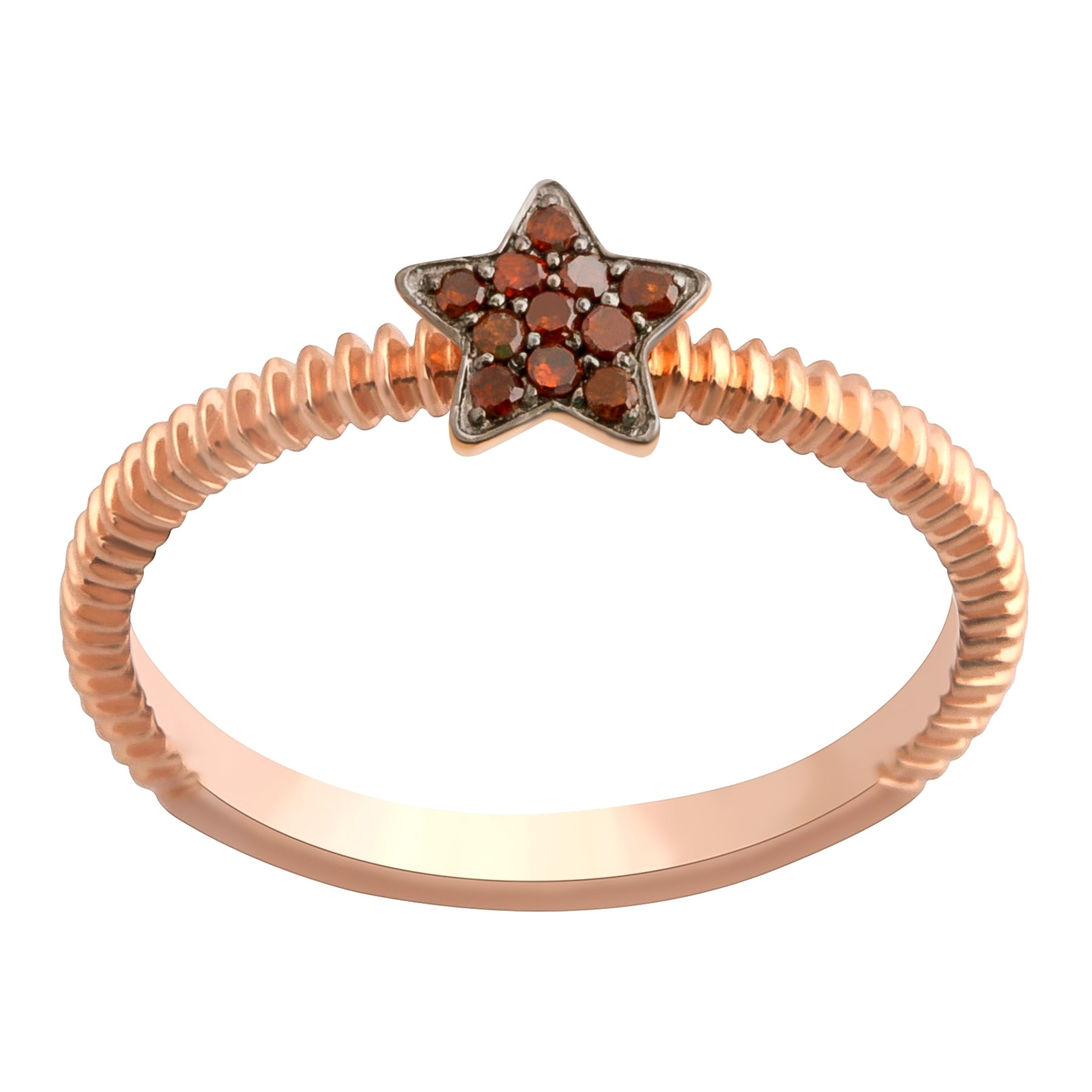 Prism Jewel 0.08Ct Round Cognac Diamond Star Shaped Fancy Ring - Thumbnail 0